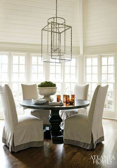 lantern, upholstered chairs
