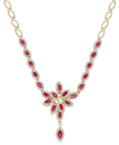 Ruby Royalé by EFFY Ruby (3-1/2 ct. t.w.) and Diamond (1-1/3 ct. t.w.) Necklace in 14k Gold - Necklaces - Jewelry & Watches - Macy's