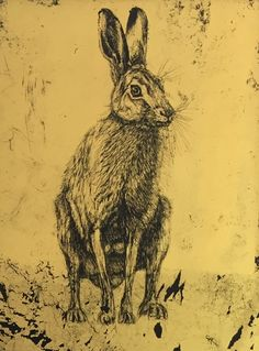 Hare by Claire Russell 22ct gold leaf on glass (verre eglomise) 8x8cm miniature