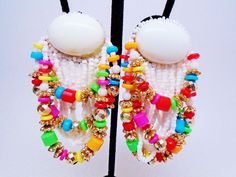 "Vintage Lucite Cha Cha Chandeliers Earrings Boho Colorful Tutti Frutti Retro 3"" #none #Chandelier"