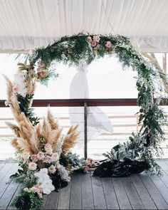 Winter Wedding Ideas that will Dazzle Your Guests Bring a bit of frost to your winter beach wedding. Add dusty millers to the circular wedding ceremony arch background. Fall Wedding Arches, Wedding Ceremony Arch, Ceremony Backdrop, Wedding Backdrops, Wedding Venues, Backdrop Ideas, Autumn Wedding, Christmas Wedding, Cheap Wedding Decorations