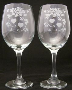 Rose and Hearts Etched Wine Glasses mothers day gifts, birthday gifts, wedding gifts, bridal gifts