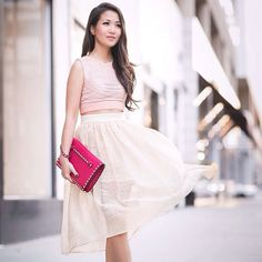 Sheer blush with Vivian Chan full skort & Jonathan Sim Khai rose cropped top. Wendy's Lookbook. #wendyslookbook