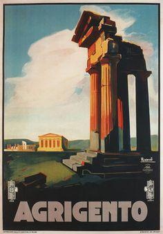 Vintage 1928 Agrigento Sicily Italian Italy Travel Poster