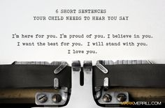 In raising our five children, Susan and I have tried to consistently convey to each of them these 6 short sentences. We've done it with our words and our actions. And, as I write this post, I'm realizing I need to say these things even more because they can't be said enough. Saying these […]