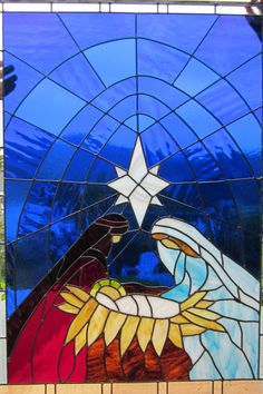 stained glass nativity window in my church