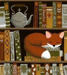 But with a cat Fox Illustration, Fox Art, Cute Art, Book Worms, Fantasy Art, Wallpaper, Drawings, Creative, Artwork