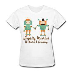 >> Click to Buy << 15th Wedding Anniversary Robots Women's T-Shirt Cartoon Brand Clothing For Women Plus Size Summer Rock Roll T Shirts Women #Affiliate