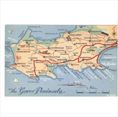 Online Marketplace at eBid United Kingdom : Free to Bid Gower Peninsula, Valentines Art, Cymru, Swansea, Salzburg, Welsh, Postcards, United Kingdom, Maps