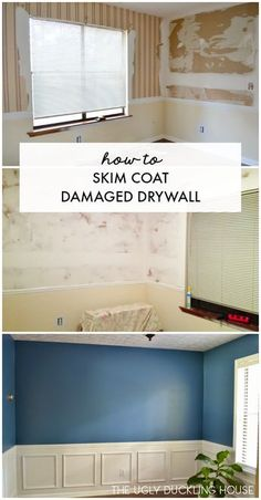 easy step-by-step tutorial with product recommendations for how to skim coat damaged drywall after wallpaper removal.An easy step-by-step tutorial with product recommendations for how to skim coat damaged drywall after wallpaper removal. Home Improvement Loans, Home Improvement Projects, Home Projects, Home Improvements, Skim Coating, Drywall Repair, Fixing Drywall, Drywall Finishing, Plaster Repair