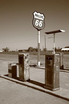 Route 66 Gas Pumps, Adrian, Texas. Rt. 66 in the Panhandle. Wall Art at http://frank-romeo.artistwebsites.com/