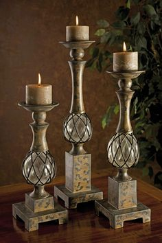 CKI Tuscany Blown Glass Candleholders - Set of 3
