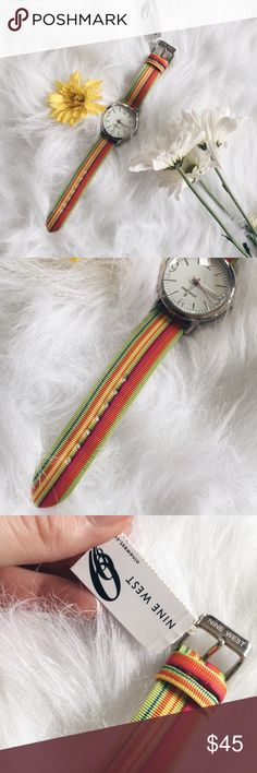 Nine West Multicolor Striped Watch ▪️Product Description▪️ ▫️Pop of color with this classic Nine West Watch  ▫️Silver tone, stainless steel back, and genuine leather backing   ▪️Condition: Macy's purchase with return tag, but never been worn ▪️Measurements:  ▫️Length: 8.5 inches  ▫️Strap Width: 3/4 inch  ▫️Watch: 38 mm round Nine West Accessories Watches