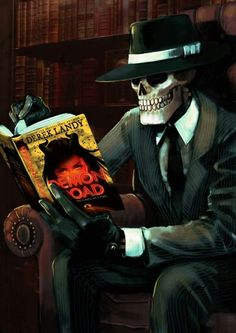 Skulduggery Pleasant reading Derek Landy's new book! This really pulls at my heartstrings! New Books, Good Books, Detective, Skulduggery Pleasant, Arizona Road Trip, Steampunk, Animation, Vintage Comics, Funny Cute