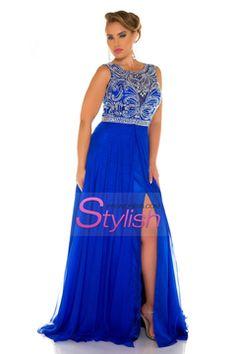 2016 Plus Size Prom Dresses Scoop A Line Chiffon With Beads And Slit Sweep Train US$ 179.99 STPKYB69JR - stylishpromsdress.com