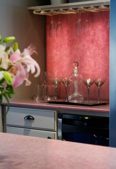 Absolutely Sensational Pink Quartz Back-Lit Bar with Matching Gorgeous Pink Quartz Countertops from the HGTV Show Kitchen Cousins. Cheap Countertops, Concrete Countertops, Kitchen Countertops, Countertop Backsplash, Dark Counters, Stainless Steel Counters, Dark Kitchen Cabinets, Black Cabinets, Counter Top Stove