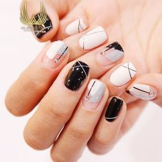 """If you're unfamiliar with nail trends and you hear the words """"coffin nails,"""" what comes to mind? It's not nails with coffins drawn on them. It's long nails with a square tip, and the look has. Fancy Nails, Diy Nails, Cute Nails, Pretty Nails, Korean Nail Art, Korean Nails, Short Nail Designs, Nail Art Designs, Geometric Nail Art"""