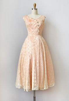 VINTAGE 1950S SILK AND LACE FORMAL DRESS | Frosted Champagne Dress #vintage #1950s