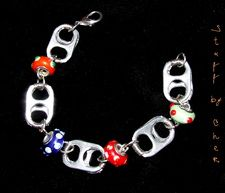Poptab Charm Bracelet - Wire wrapped aluminum poptabs with colorful charm beads.      $30.00