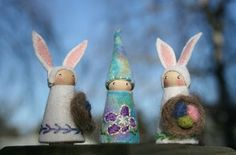 Easter bunnies and gnome peg dolls.