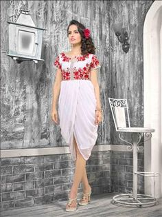 Let your persona be the most glamarous and stylish among the crowd. Beautiful Off White  color kurti only at xeroshop.com