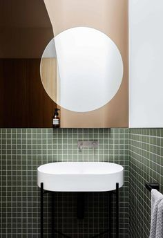 Entrepreneur and serial renovator Belinda Alexander reached for the sky with her latest project, a brave new build in Melbourne. Bathroom Design Inspiration, Bathroom Interior Design, White Mosaic Tiles, Urban Barn, Upstairs Bathrooms, Modern Barn, Loft Spaces, Interior Design Services, Inspired Homes