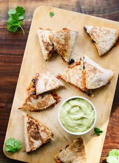 Sweet potato black bean quesadillas with creamy avocado salsa verde (you can make these without a spiralizer, too!) - cookieandkate.com