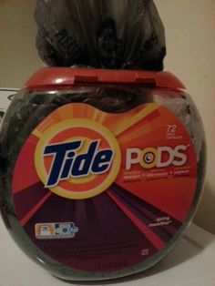 Re-use Tide PODS containers for all those plastic bags stuffed into you cupboard! Very efficient and easy to just grab one and go!