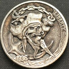 Hobo nickel coin hand engraved by Narimantas Palsis (Nari). Metal Clay Jewelry, Coin Jewelry, Pirate Coins, Accessoires Divers, Custom Coins, 3d Cnc, Hobo Nickel, Coin Art, Wood Burning Patterns