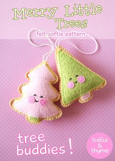 PDF Pattern - Merry Little Trees Sewing Pattern, Christmas Ornament Pattern, Holidays, Kawaii Felt Pattern, Softie Pattern Felt Ornaments Patterns, Felt Patterns, Sewing Patterns, Little Christmas Trees, Christmas Makes, Christmas Ornaments, Softies, Softie Pattern, Embroidery For Beginners