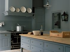 'The Spitalfields Kitchen' by Plain English Cupboards painted in 'Lead Colour' by Little Greene Paint Company Worktable painted in 'Dark Lead Colour' by Little Greene Paint Company www.plainenglishdesign.co.uk