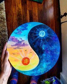 Wonderful Sun and Moon Cute Canvas Paintings, Diy Canvas Art, Vinyl Record Art, Vinyl Art, Moon And Sun Painting, Theme Galaxy, Yin Yang Art, Hippie Painting, Wow Art