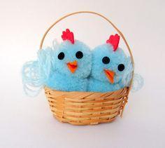 Vintage Easter Ornament Decoration Pom Pom Chicks by teresatudor, $5.50
