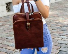 Womens leather backpack, Personalized leather, Vintage brown leather backpack, Leather bags women, Gift for her - Clarissa Leather Laptop Backpack, Brown Leather Backpack, Backpack Purse, Laptop Bags, Denim Backpack, White Backpack, Macbook Pro 13, Blazer Beige, Breathe