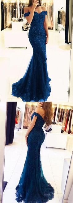 Charming Prom Dress,Lace Prom Dress,Mermaid Prom Dress,elegant navy blue lace prom dresses ,off the shoulder evening gowns pearl beaded