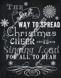 Chalkboard Style Christmas Cheer Buddy The Elf Quote Subway Holiday Art Printable