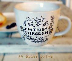 Bible Verse Coffee Mug, Custom Mug, Philippians 4:13, Mugs with Quotes, Christian Gift, Narnia Mug, Free Customization