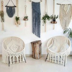 Macrame bucket chairs