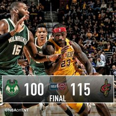 LeBron James leads the Cavs to the home win past Greg Monroe, the Greek Freak, and the Bucks in Cleveland.