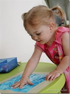 This activity is a super-simple way to let your child finger paint without dealing with the mess!