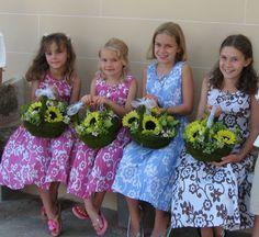 My Flower Girls, with their sunflower baskets
