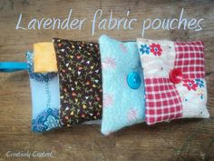 Lavender fabric pouches. These little pouches are perfect for small sweet gifts that can even fit in a card. Plus it is a great fabric buster project. :) enjoy