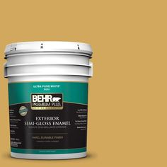 BEHR Premium Plus 5-gal. #350D-5 French Pale Gold Semi-Gloss Enamel Exterior Paint