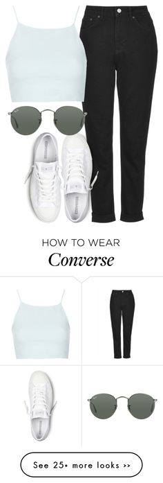 """""""mom jeans insp"""" by littlemixmakeup on Polyvore featuring Topshop, Converse and Ray-Ban"""