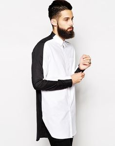 ASOS Oxford Shirt In Super Longline With Black And White Split Panel Buy the Latest Brand Men Casual Shirts and Online Business Formal Shirt at fashion cornerstone. Discounts all season long. Moda Blog, Sport Outfit, Look Man, Mode Style, Shirt Style, Shirt Designs, Street Wear, Menswear, Street Style