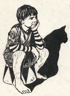 Illustration by Carl Harris, Circus Catboy, Linocut.