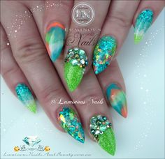 Sculptured Acrylic with Young Nails Neon Peach, Neon Green, Rainbow white, Pop Collection Turquoise, I. Solar Nail Designs, Nail Art Designs, White Gel Nails, Blue Glitter Nails, Pointed Nails, Stiletto Nails, Nails Polish, My Nails, Turquoise Nail Polish