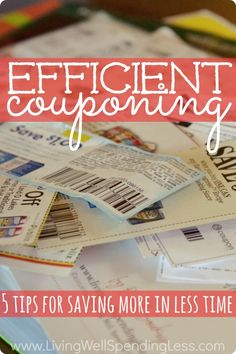 Coupons, Samples & Money Saving Tips - Efficient Couponing. Want to save money on groceries but don't have hours to spend clipping coupons each week? Don't miss these 5 expert tips for saving more money in less time! Save Money On Groceries, Ways To Save Money, Money Tips, Money Saving Tips, Saving Ideas, Groceries Budget, Dave Ramsey, Couponing For Beginners, Extreme Couponing