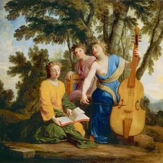 Melpomene, Erato and Polyhymnia (muses of tragedy, love poetry, and songs to the gods respectively).