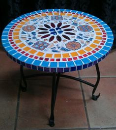 Mosaic Furniture, Tile Crafts, Garden Table, Mosaic Art, Outdoor Furniture, Outdoor Decor, Fused Glass, Repurposed, Upcycle